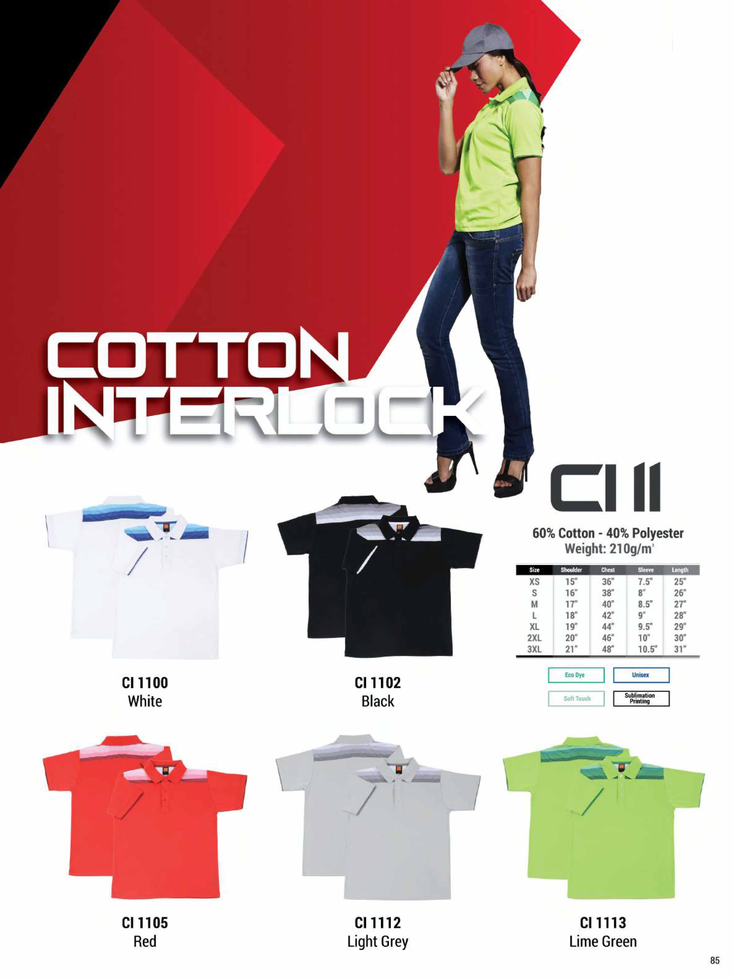 CI11 COTTON INTERLOCK POLO T-SHIRT