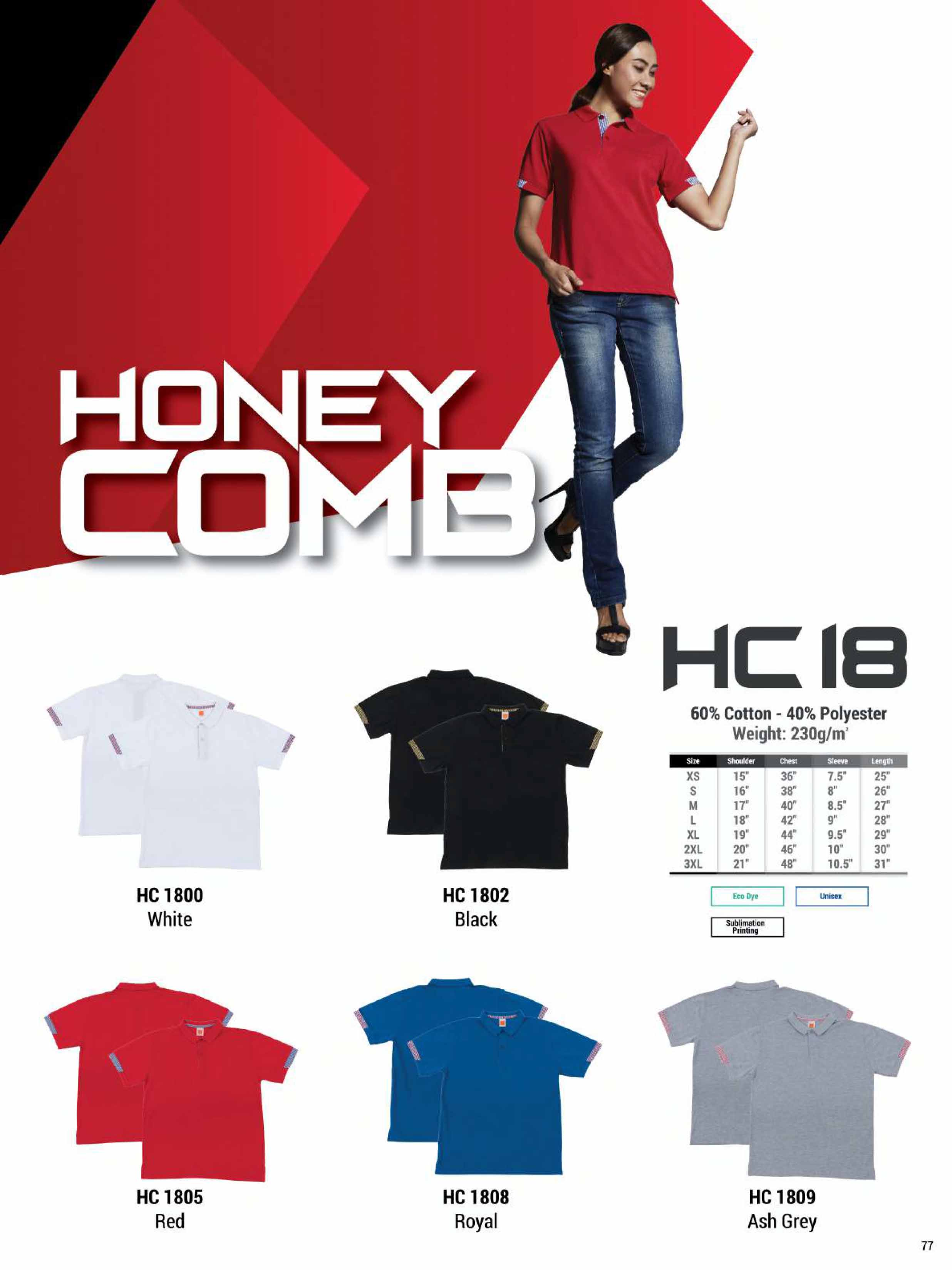 HC18 HONEYCOMB COTTON POLO T-SHIRT