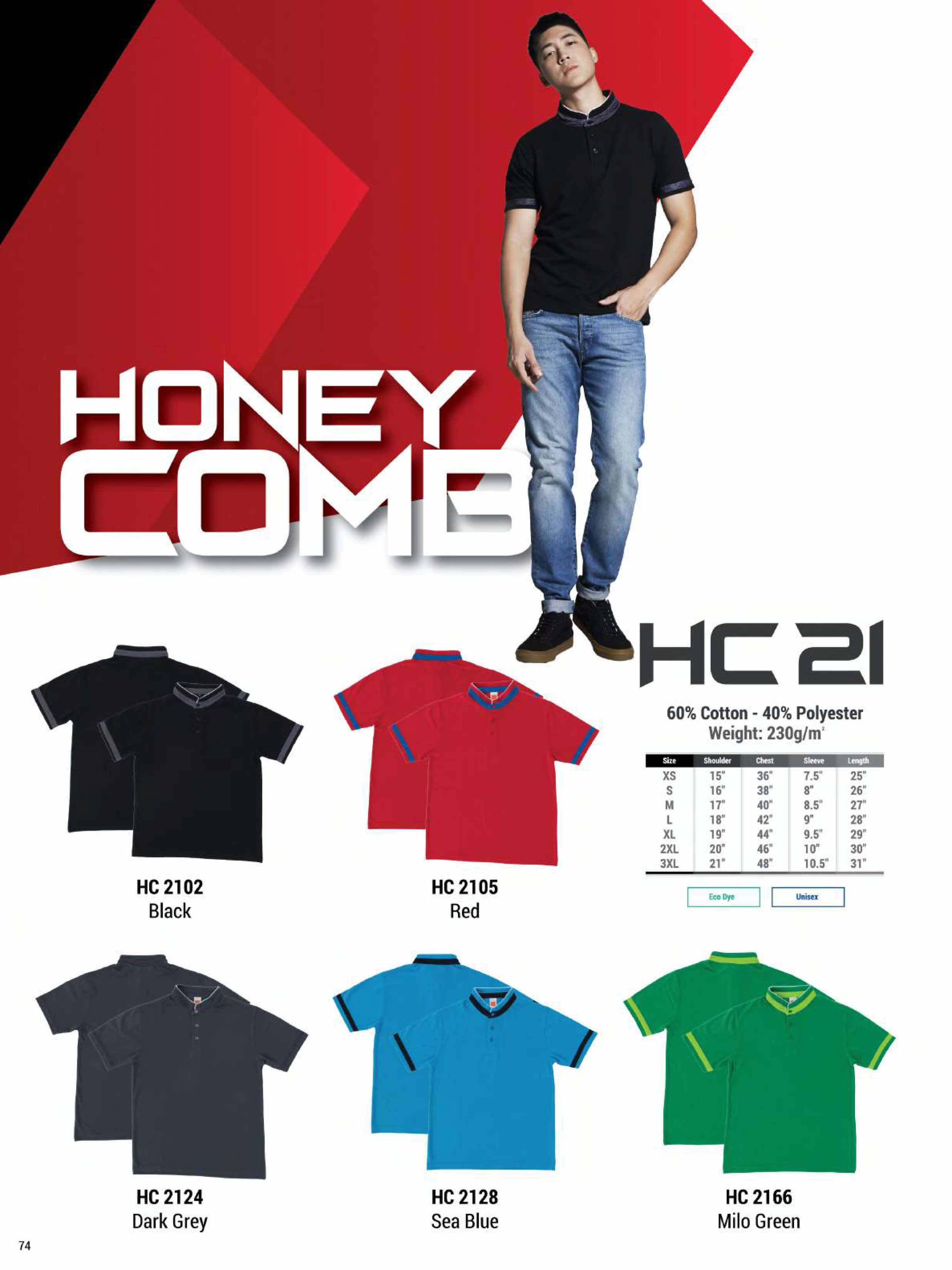 HC21 HONEYCOMB COTTON POLO T-SHIRT