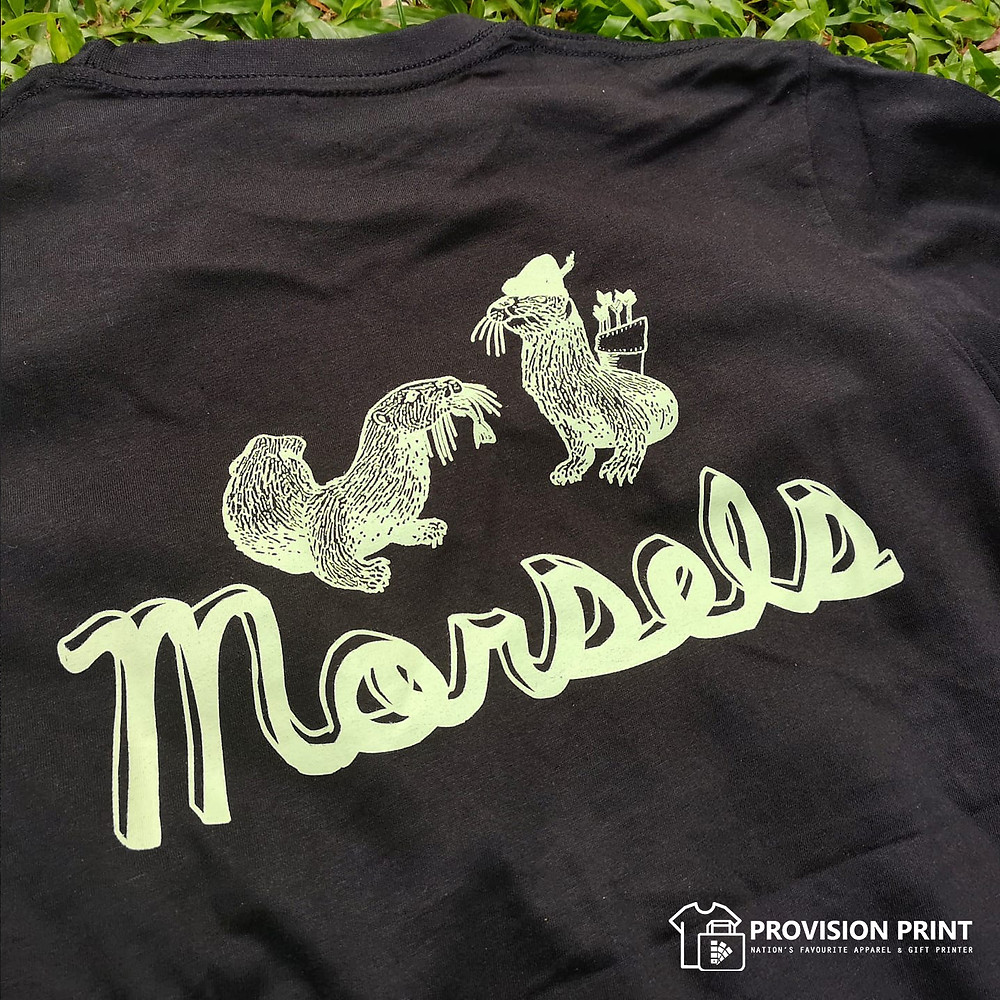 Workwear printed with silkscreen method for Morsels