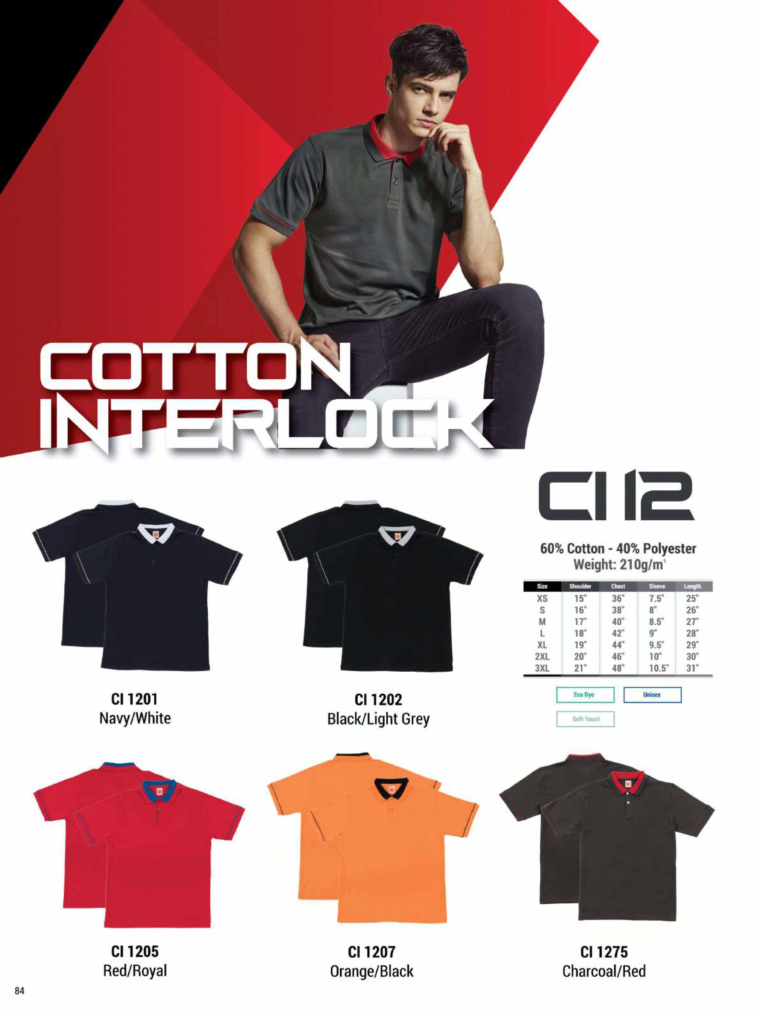 CI12 COTTON INTERLOCK POLO T-SHIRT