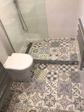 Walk In Shower in Blue and White