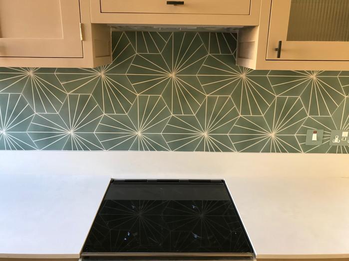 Detailed tile work in kitchen