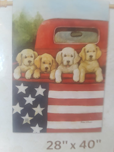 Puppies in red truck with flag