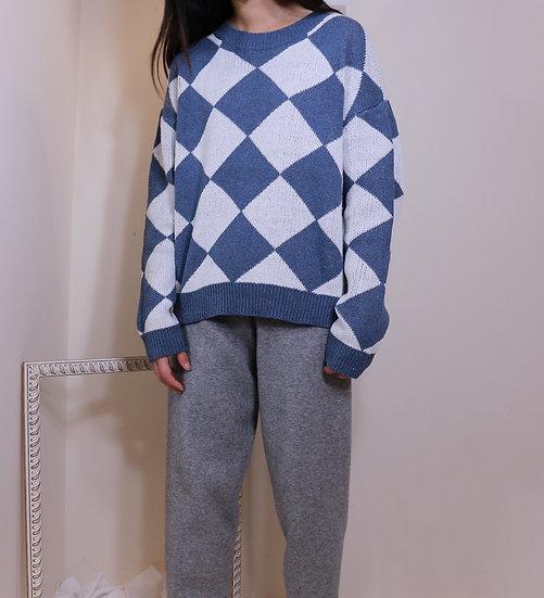 Blue Grey Diamond Sweater