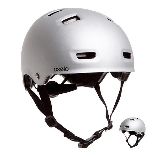 ШЛЕМ для катания на роликах, скейтборде, велосипеде MF 500 OXELO серебро