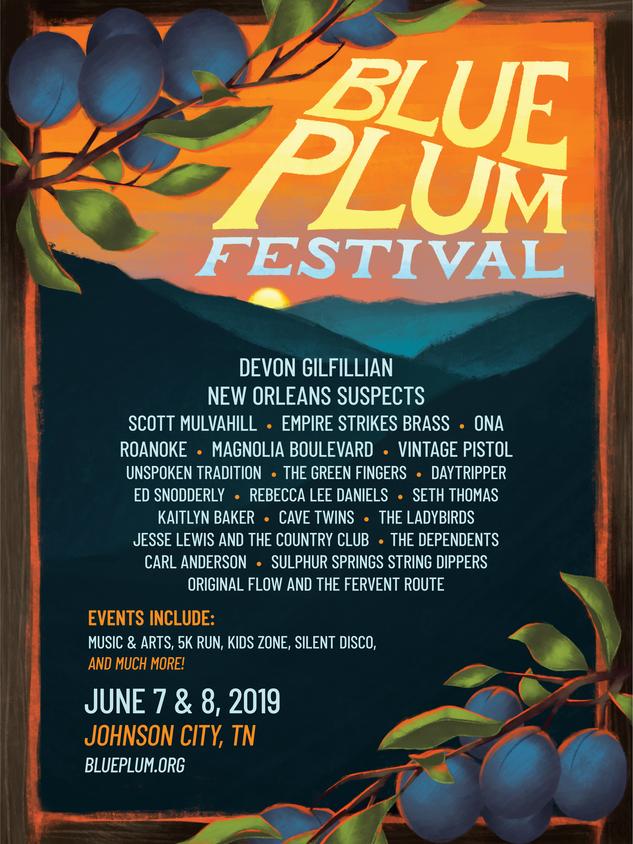 2019 Blue Plum Festival Band Lineup Poster