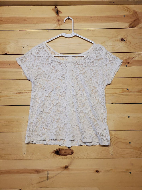 Mossimo Supply Co. Back Button Down Lace Women's T-Shirt Size S