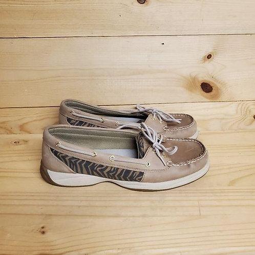 Sperry Leopard Brown Boat Shoes Women's Size 10