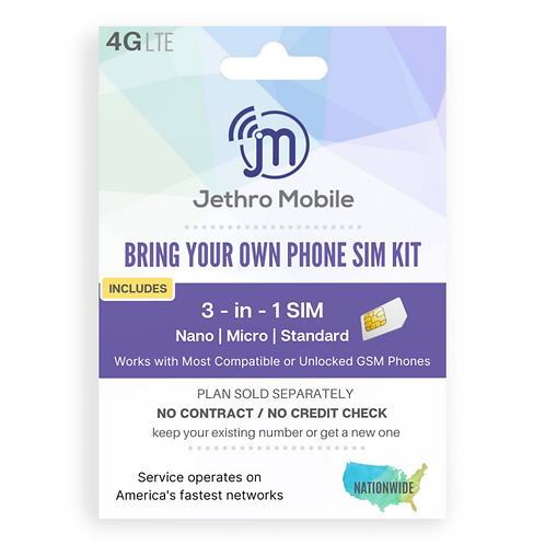 Jethro Mobile 3 in 1 SIM Card Activation Kit
