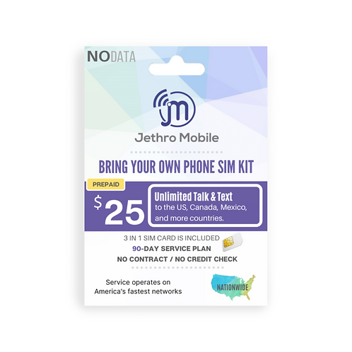 Jethro Mobile SIM Card with Prepaid 90 Days Unlimited Talk & Text Plan