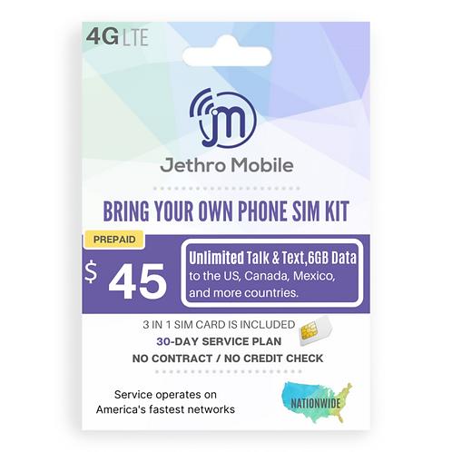 Jethro Mobile SIM Card with Prepaid 30-Day Plan