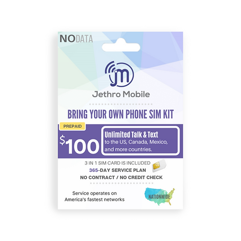 Jethro Mobile SIM Card with Prepaid 365 Days Unlimited Talk & Text Plan