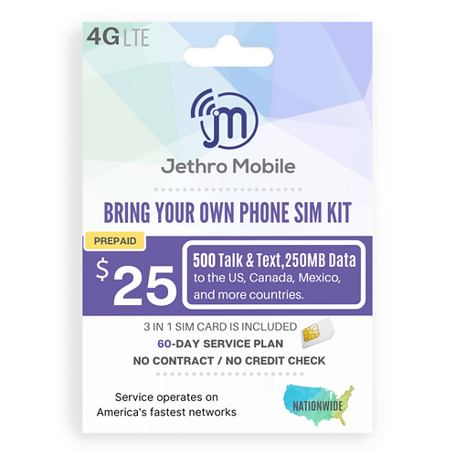Jethro Mobile SIM Card with Prepaid 90-Day Plan