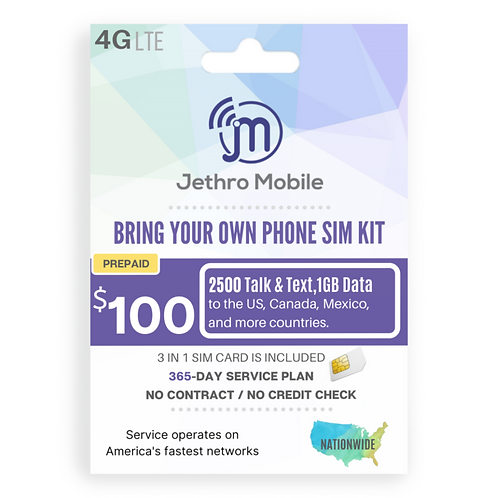 Jethro Mobile SIM Card with Prepaid 365-Day Plan