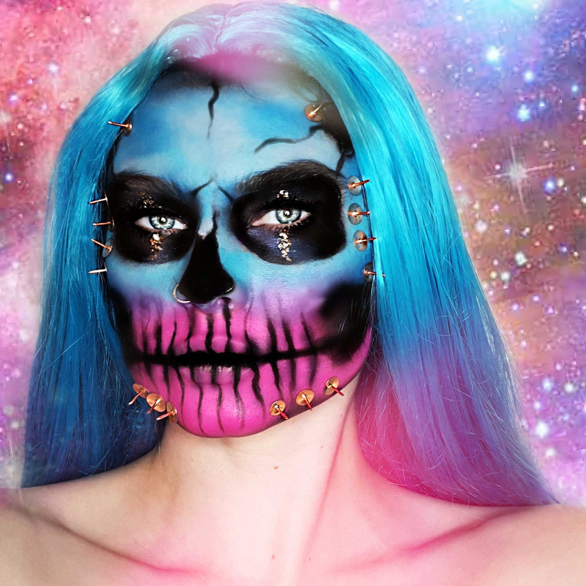 Glitter Skull Halloween Makeup look by Eco Glitter Fun Ambassador, Hayley