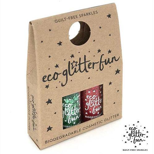 verde uber disco blend & rojo blend of Bioglitter® Sparkle Christmas mini box