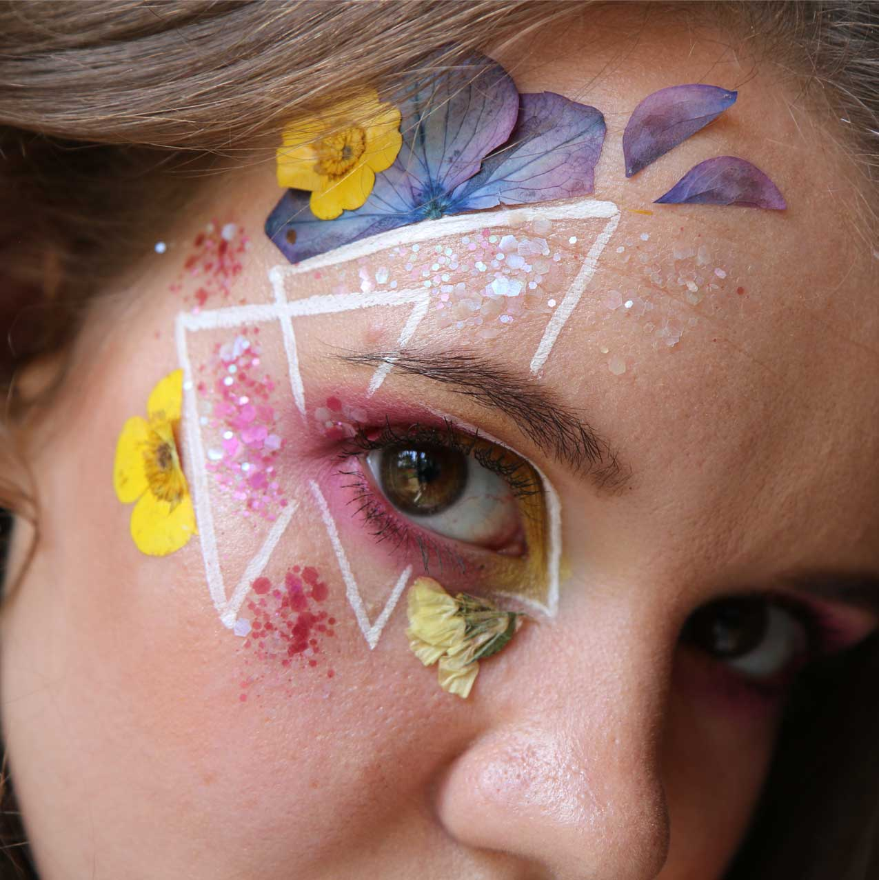 Face Florals and Eco Glitter Make up