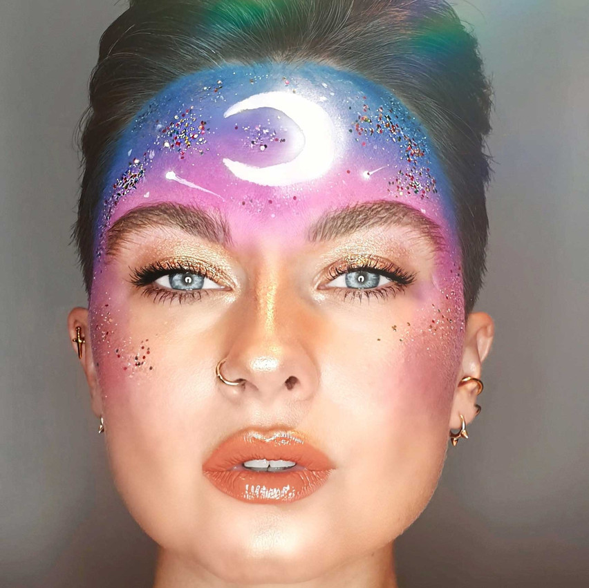 Outer space makeup look by Eco Glitter Fun Ambassador Hayley