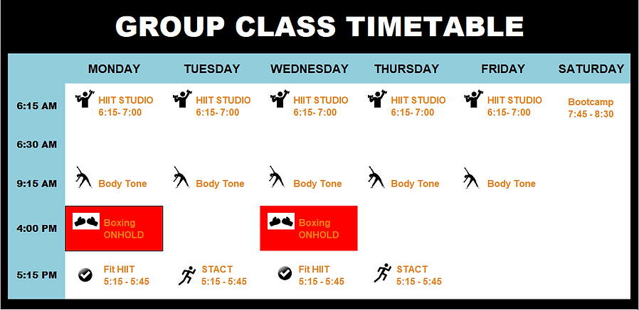 Group Fitness Class Timetable