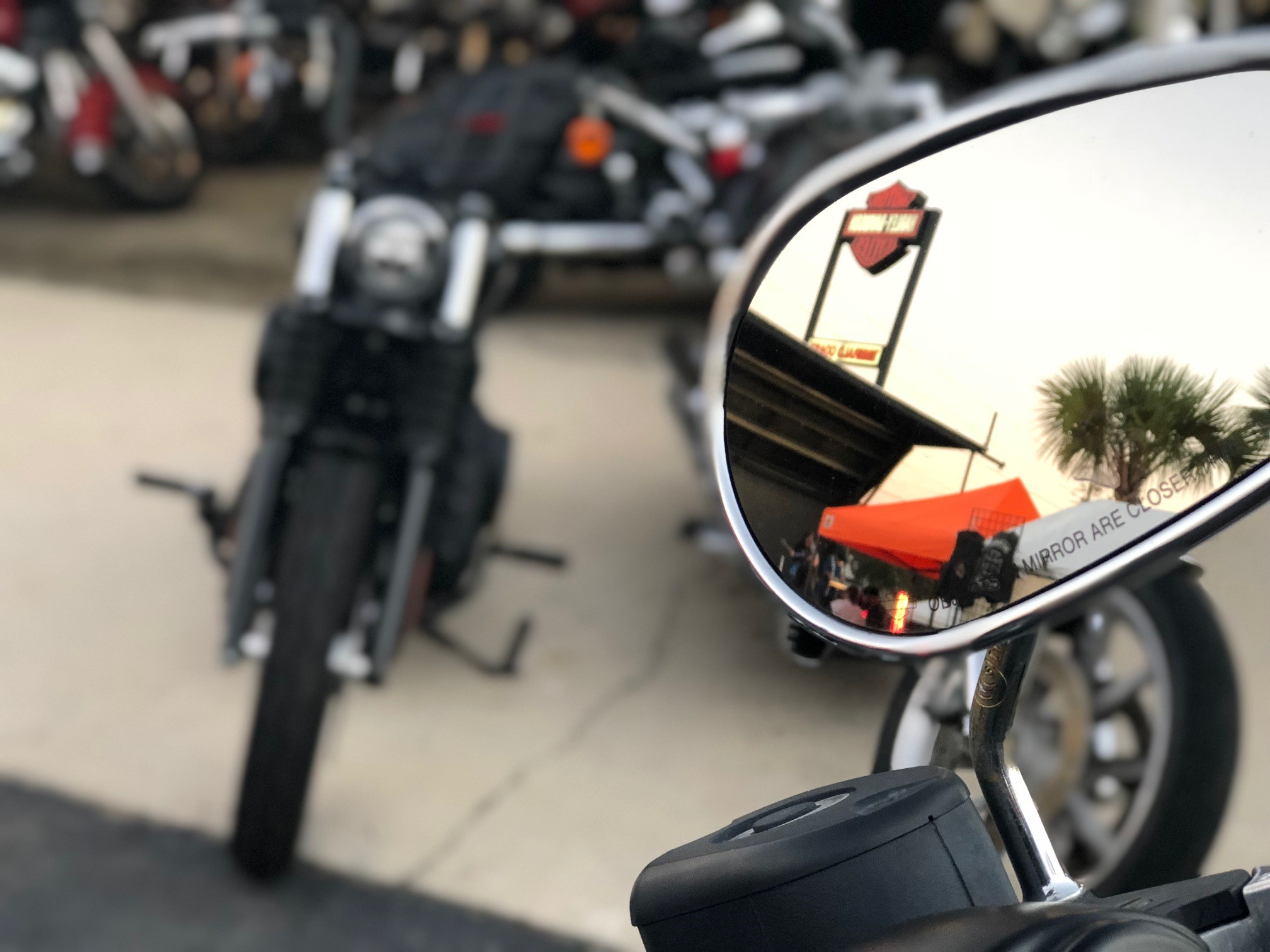 hd logo in bike mirror