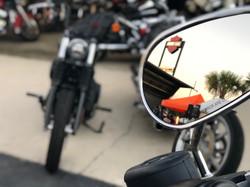 hd logo in bike mirror