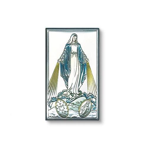 """Quadro in bilaminato Argento, Oro e colore, """"Madonna Miracolosa"""""""