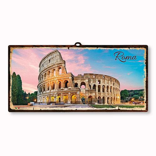 "Targa in legno Vintage ""Roma - Colosseo"""