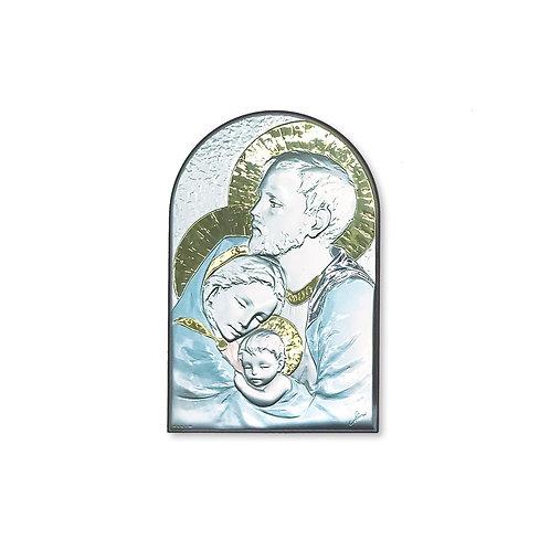 """Icona in bilaminato Argento, Oro e colore """"Sacra Famiglia"""""""