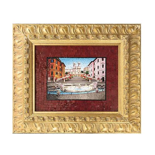 """Mosaico Artistico """"Piazza di Spagna"""" con smalti Veneziani e marmi pregiati"""