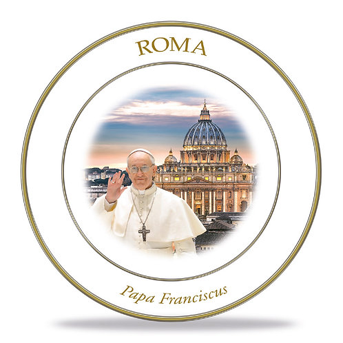 "Piatto decorativo in Ceramica ""Roma - Papa Francesco"""