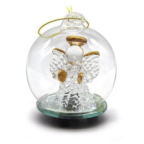 Palla di Natale in vetro soffiato con luce