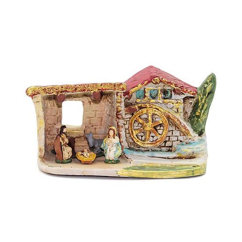 Presepe in miniatura dipinto in Terracotta Deruta
