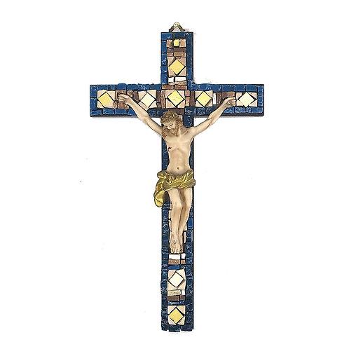 Crocifisso in Mosaico di smalti Veneziani, marmi policromi e oro