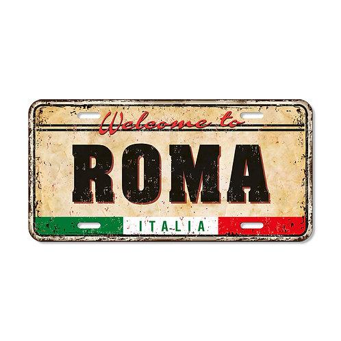 "Targa in metallo Vintage ""Roma"""