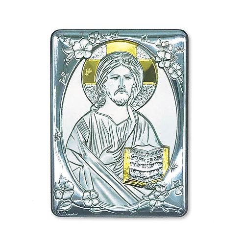 """Quadro in bilaminato Argento e Oro, """"Cristo Pantocratore"""""""