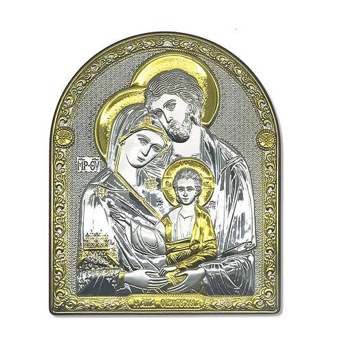 """Icona Ortodossa  in Bilaminato Argento e Oro, """"Sacra Famiglia"""""""