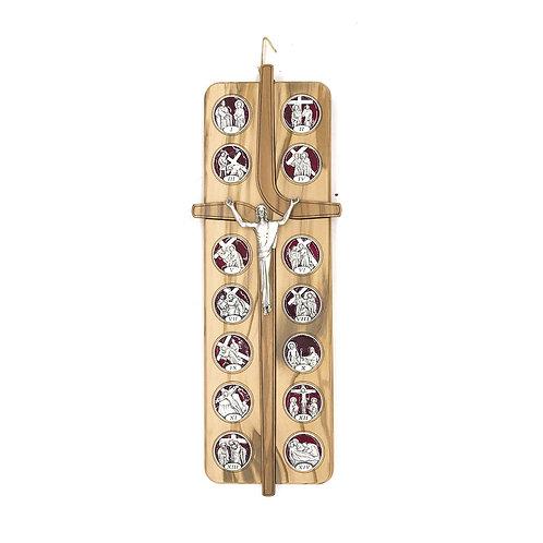Croce Cristo Risorto in legno di Ulivo con Via Crucis