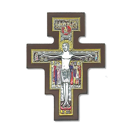 """Crocefisso in Bilaminato Argento, Multicolor e Oro, """"Croce San Damiano"""""""