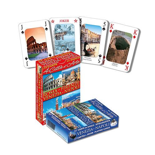 """Set di 2 mazzi di Carte da Gioco Poker turistiche """"Città d'Arte"""""""