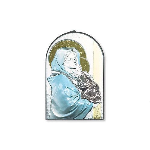 """Icona in bilaminato Argento, Oro e colore """"Madonna con Bambino del Ferr"""