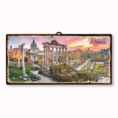 """Targa in legno Vintage """"Roma - I Fori"""""""