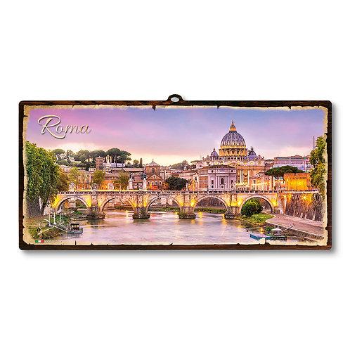 """Targa in legno Vintage """"Roma San Pietro"""""""