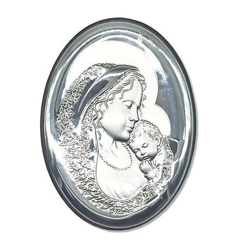 """Quadro Ovale in bilaminato Argento 925 """"Sacra Famiglia"""""""