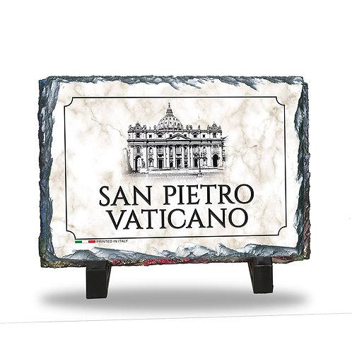 """Quadretto in Ardesia da tavolo """"San Pietro - Vaticano"""""""