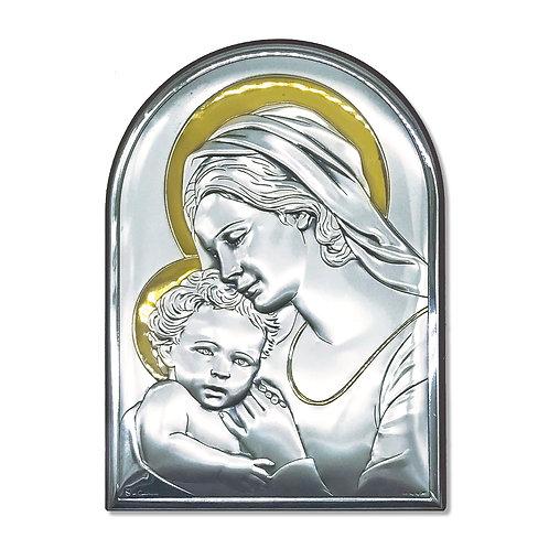 """Icona in bilaminato Argento e Oro, """"Madonna con Bambino"""""""