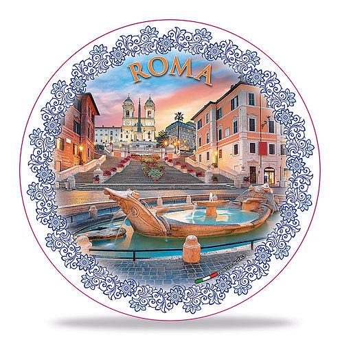 """Piatto decorativo in Ceramica """"Roma - Piazza di Spagna"""""""