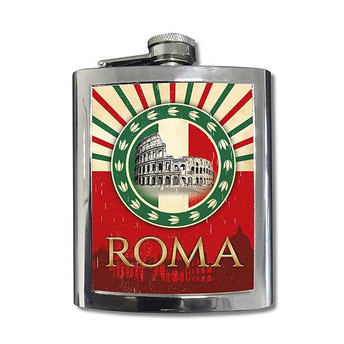 """Fiaschetta in Acciaio Inox 7 0z """"Roma Monumenti"""""""