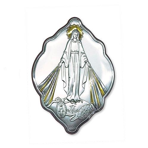 """Quadro sagomato in bilaminato Argento, Oro e colore,"""" Madonna Miracolosa"""""""