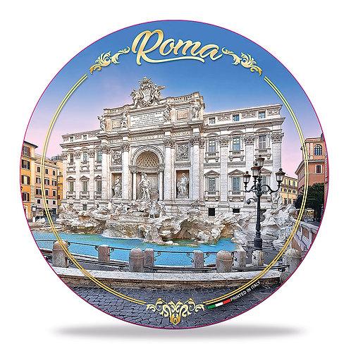"""Piatto decorativo in Ceramica """" Roma - Fontana di Trevi"""""""